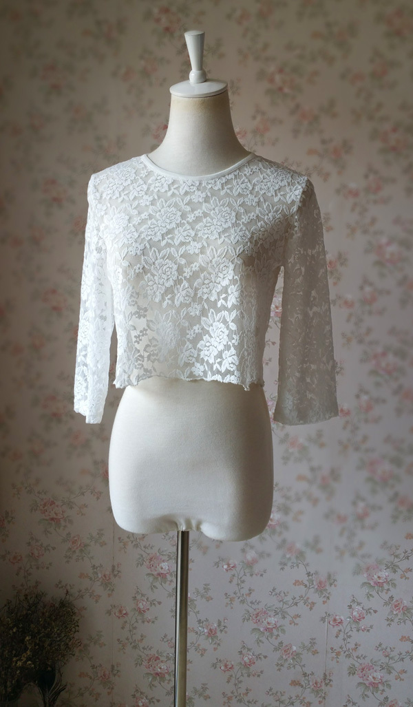 White Lace CROP TOPS Sleeved Bridesmaid Crop Tops White Bridesmaid Shirts US0-30