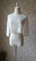 3 Quarters Sleeve White Lace Top Loose Fitting Bridesmaid Crop Lace Top image 2