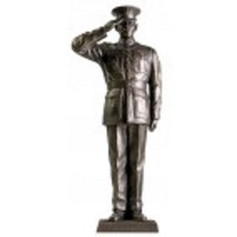 "USMC Marine Dress Blue Salute 12"" Cold Cast Bronze Statue - $98.99"