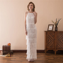 Women's Elegant Lace Dress White Prom Dress Straps Long Evening Dress Wh... - $89.99