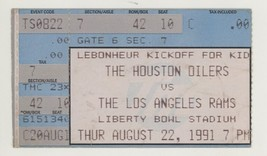 RARE Houston Oilers vs Los Angeles Rams @ Memphis TN 8/22/91 Ticket Stub! - $8.41