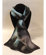 Hand Painted Silk Scarf Light Blue Charcoal Gray Silver Rectangle Best New Gift - €47,20 EUR
