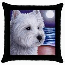 Pillow case Throw Pillow black Cushion Case White Westie Dog art L.Dumas - $23.99
