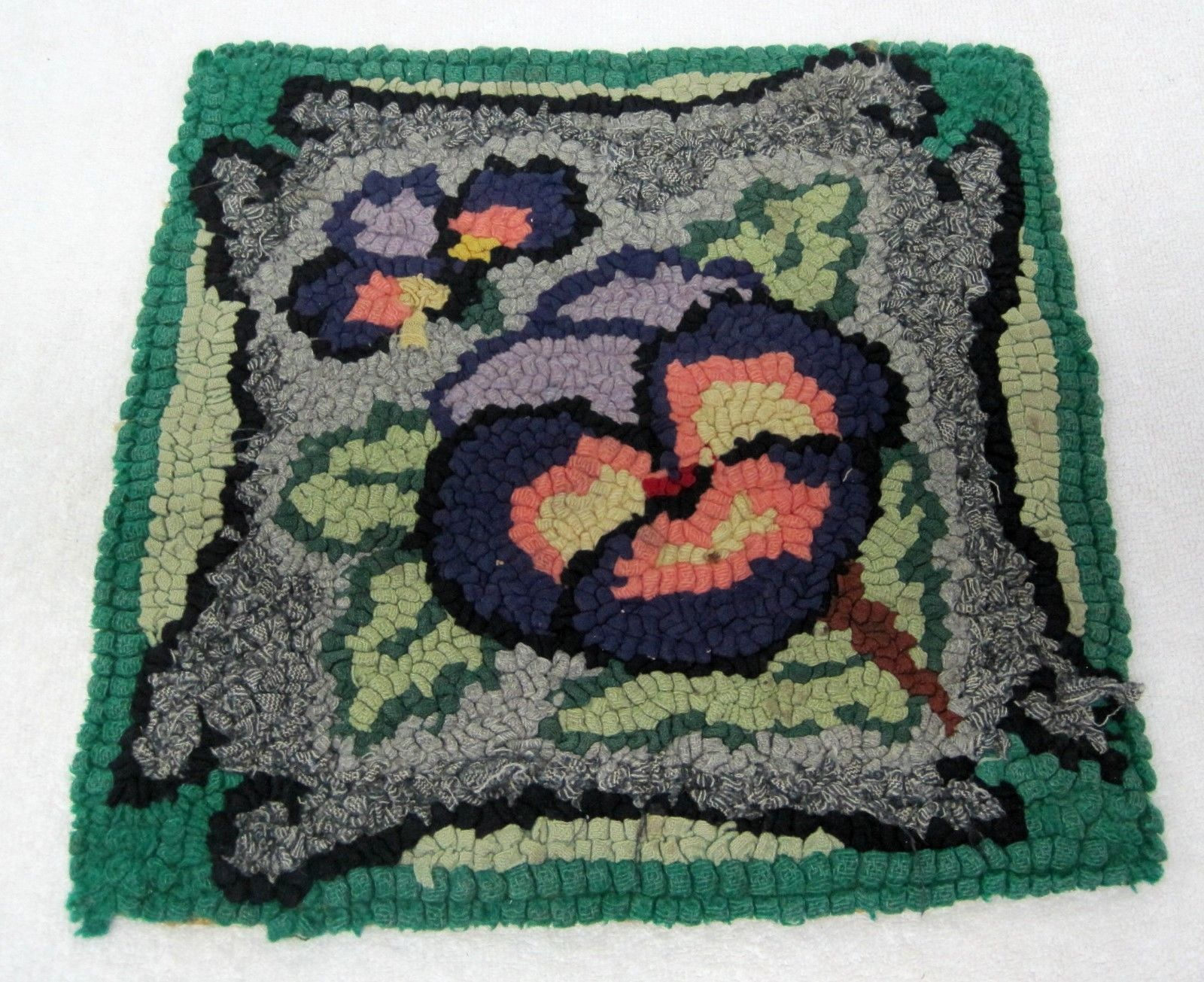 Primary image for Antique Pansy Rag Hooked Chair Pad Green Purple 12 1/4 In Square T76