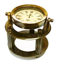 GYMBALLED BOND LONDON ANTIQUATED HEAVY BRASS NAUTICAL OFFICE DESK CLOCK - $69.99