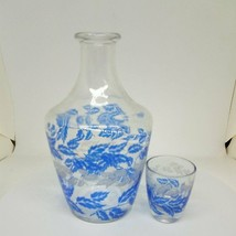 Clear Jar & Glass With Blue Leaves Pattern - $77.69