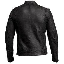 Vintage Cafe Racer Mens Biker Black Leather Jacket image 3