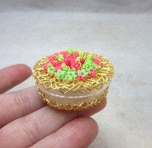 Vintage ladies pill box with Green & pink groovy flowers - $9.99