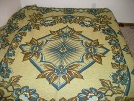 ANTIQUE TAPESTRY BEDSPREAD STARBURST ROSE AQUA BELGIUM CHIC PARIS APT SH... - $255.54