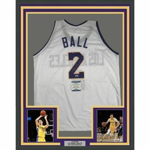 FRAMED Autographed/Signed LONZO BALL 33x42 LA Lakers White Jersey Becket... - $424.99