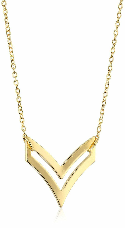 "USA Made ECRU Gold Tone Metal Open Arrow 20"" Necklace NEW"