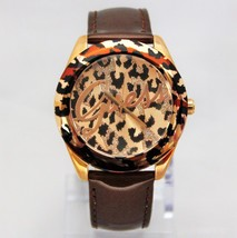New Guess U0455L3 Brown Tone Iconic Animal Print Shinny Leather Band Women Watch - $103.95