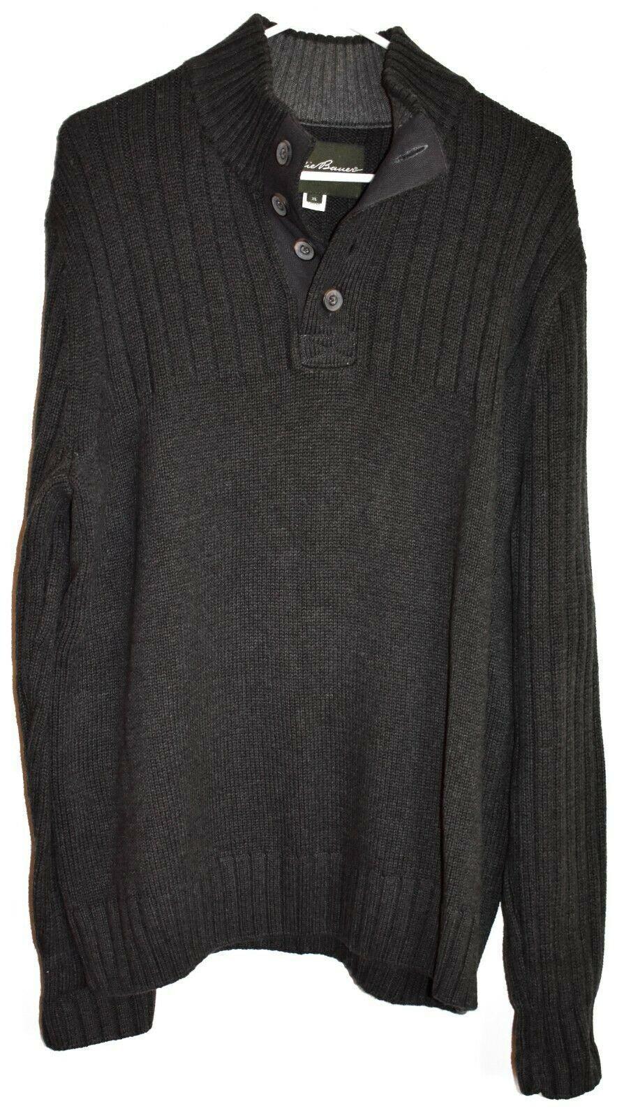 Eddie Bower Dark Grey 1/4 Button V-Neck Cotton Pullover Long Sleeve Sweater XL