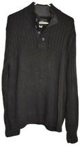 Eddie Bower Dark Grey 1/4 Button V-Neck Cotton Pullover Long Sleeve Sweater XL image 1