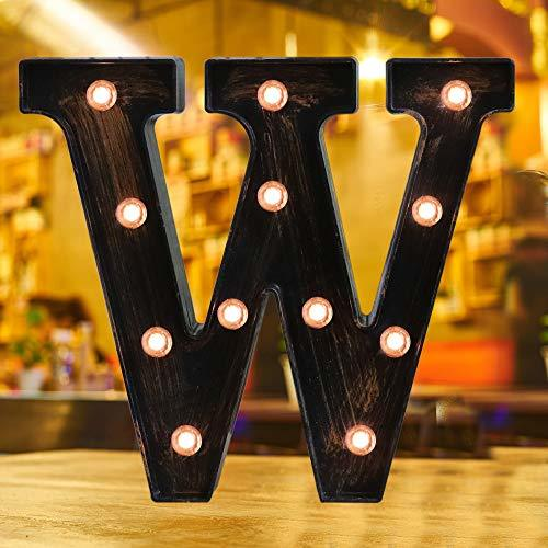 Industrial Style Light Up Letters: Golden Led Marquee Letter W