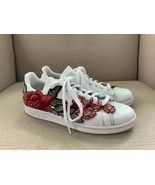 Adidas Stan Smith Custom Flowerbomb Appliqued Floral Embroidered Sneakers US 6 - $130.58