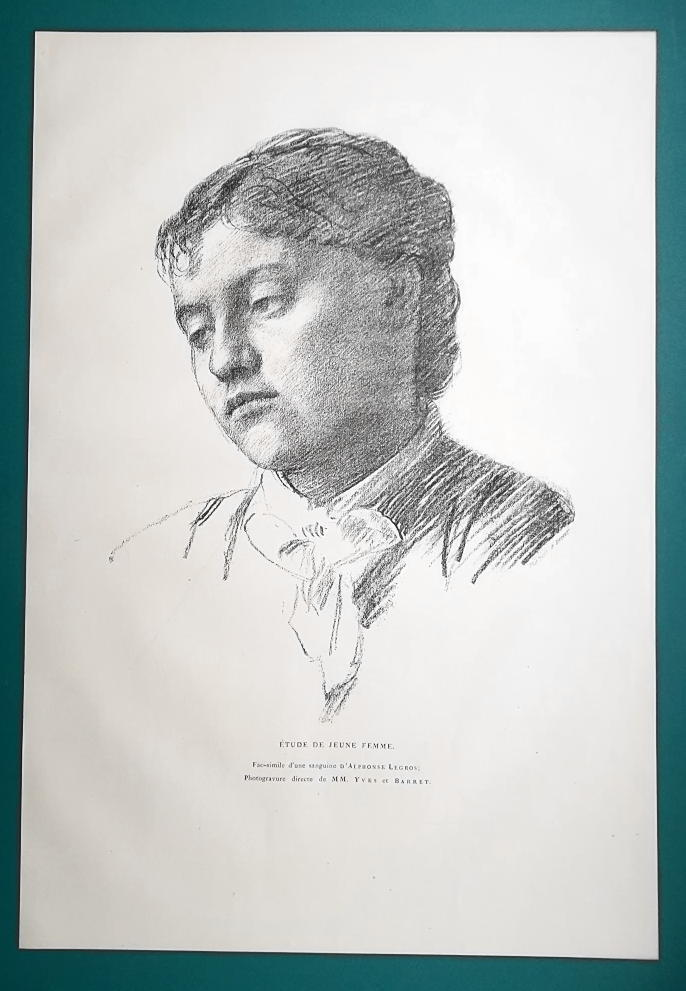 YOUNG MAIDEN Girl Pensive after A. Legros - 1876 Antique Print