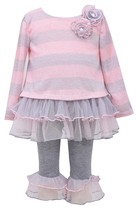 Bonnie Jean Little Girl 2T-6X Grey/pink Lurex Stripe To Tier Mesh Fuzzy Knit Dre