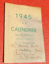 ORIGINAL WWII 1945 AUBERGES de la JEUNESSE CALENDAR SENT HOME FROM BELGIUM - $29.69