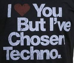 I Love You But ' Ve Chosen Techno Nero da Uomo T-shirt Con Scollo A V Taglia:XL image 2