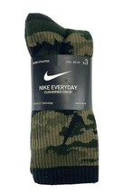 New 3 Pairs Boys M 5-7 Nike Everyday Cushioned Crew Socks Camo Dri Fit - $16.82