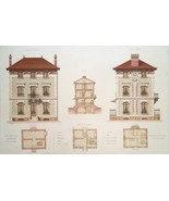 ARCHITECTURE Color Print - VICTORIAN Brick Residence at Chatou Architect... - $39.60