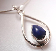 Lapis Hoop 925 Sterling Silver Necklace India New - $21.73