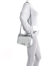 AUTH CHANEL LIMITED EDITION METALLIC SILVER PERFORATED LAMBSKIN MEDIUM BOY BAG  image 13