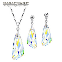 Plant Shaped Jewelry Set Necklace Earrings Crystal Wedding Bridal Prom R... - $40.90