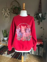 80s-90s womens vintage oversized graphic sweatshirt Cats in a Basket red... - $24.74