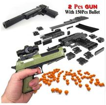 2 Set with Bullet DIY Building Blocks Toy Gun Assembly with Instruction ... - $11.81