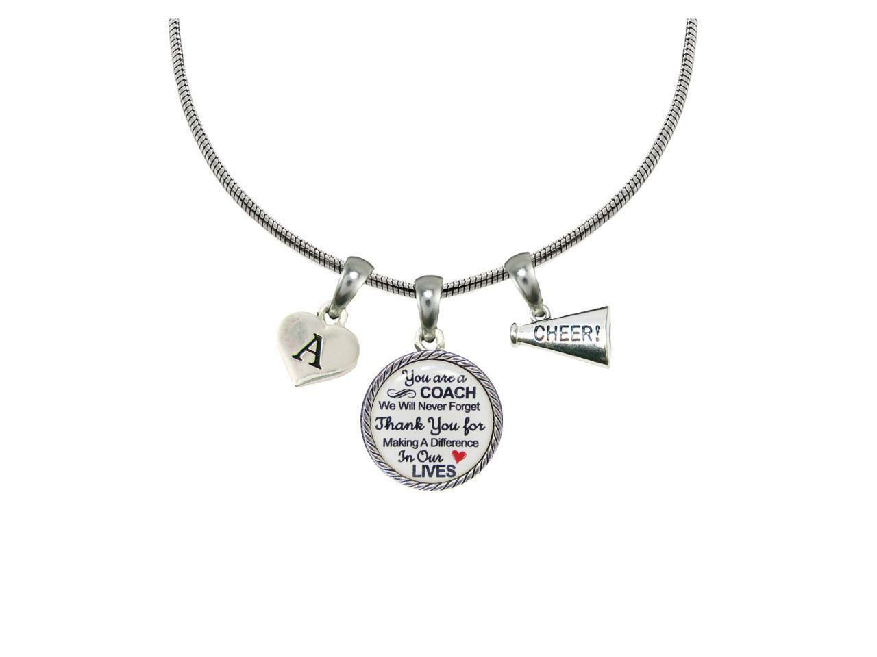 Custom Cheer Coach Thank You Gift Silver Necklace Jewelry Choose Initial