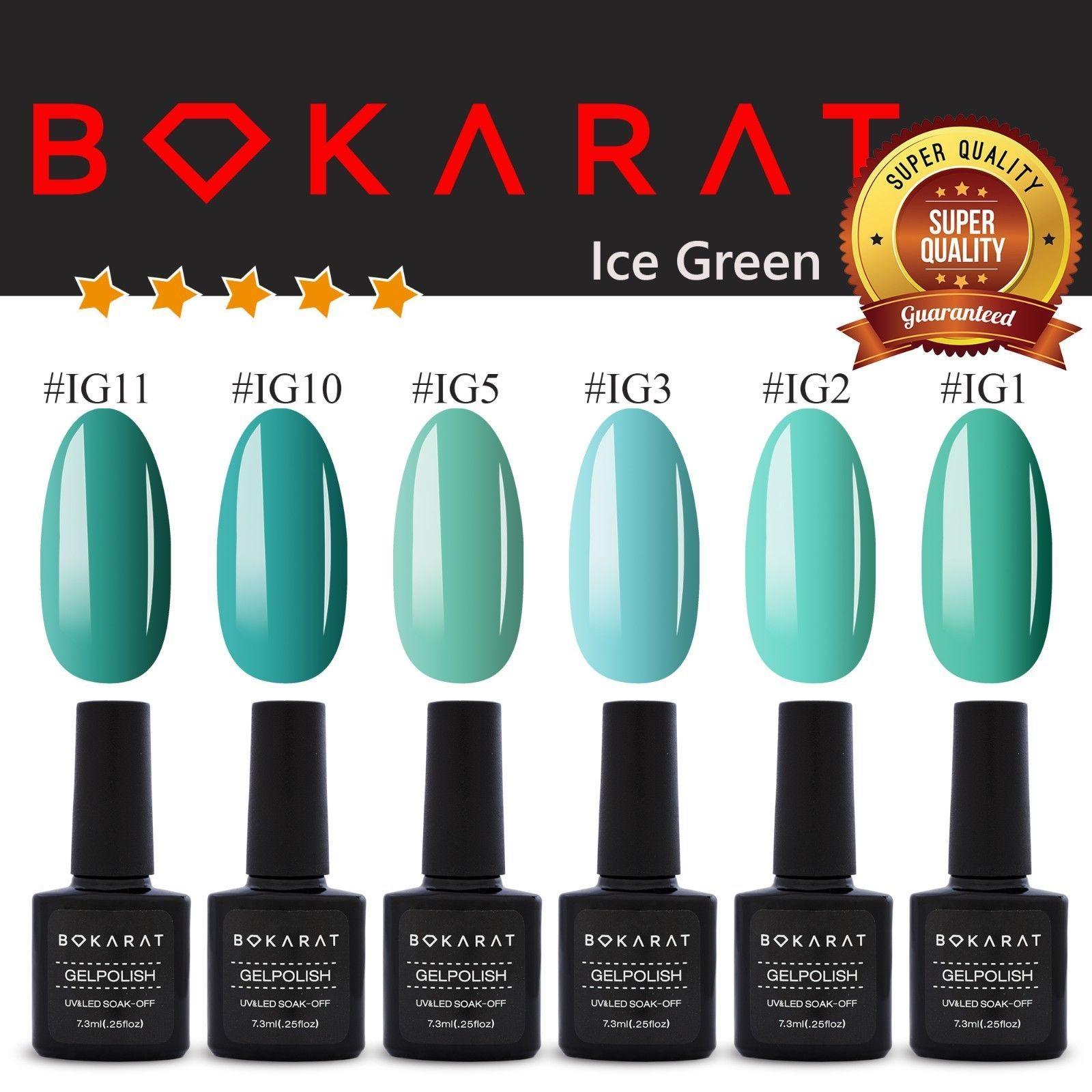 Ice Green Color Bokarat Gel Nail Polish 7.3 ml Soak Off UV LED High Quality