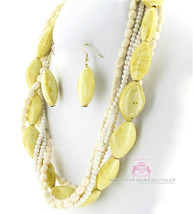 Creme Stone Look Fashion Natural Chunky Classic Acrylic Neutral Necklace Set - $5.97