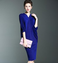 all stature slimming V-nect draped batwing sleeve folded cloth dress 5 c... - $32.50
