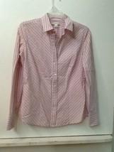 Banana Republic Women's Pink White Striped Long Sleeve Button Up Blouse ... - $15.95