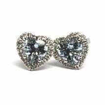 18K WHITE GOLD LOVE HEART EARRINGS AQUAMARINE WITH DIAMONDS FRAME, DIAMETER 9 MM image 2