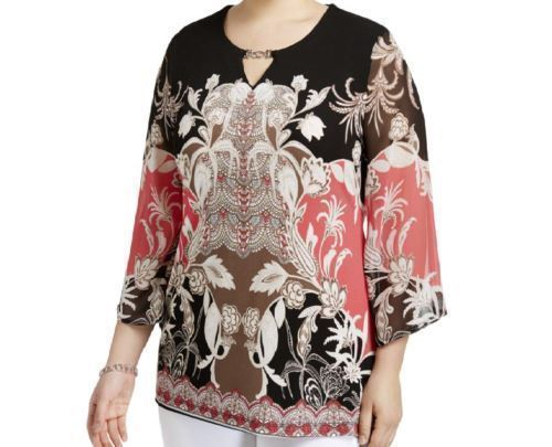 JM Collection Womens Sheer Embellished Blouse Polyester Shirt SZ XS & M REG $64