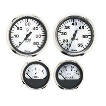 Faria Spun Silver Box Set of 4 Gauges f/Outboard Engines - Speedometer, Tach, Vo - $230.58