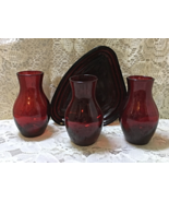 Vintage Ruby Red Miniature Glass Vase Set with Tray Floral Centerpiece V... - $15.00