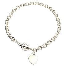 Tiffany & Co.925 Argent Sterling Coeur Étiquette Charme Collier à Fermoir - $356.40