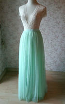 MINT GREEN Full Tulle Skirt Women High Waist Green Wedding Tulle Skirt Plus Size image 5