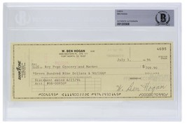 Ben Hogan Signed Personal Check #4695 7/5/1994 Slabbed BAS - $277.19