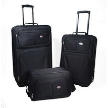 Luggage Set For Men Women 3 Piece Black Rolling Clearance Travel Bag Lig... - $76.63