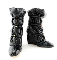 New Stuart Weitzman Size 7 Duvet Stud Black Leather Wedge Boots - $349.00