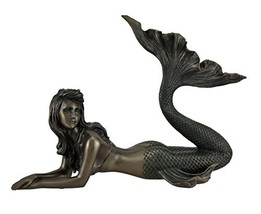 Mermaid Lying Down Statue Sculpture Nautical Figurine - $62.63