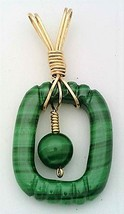 Malachite Gold Wire Wrap Carved Pendant 4 - $40.00