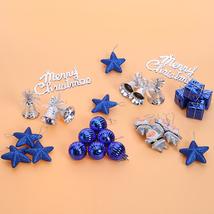 (blue)28pcs Christmas Decorative Pendant Christmas Strap Set Box Hanging... - $20.00