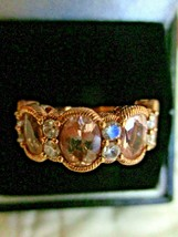 Judith Ripka Rose Gold-Clad Sterling Silver Morganite Diamonique Sz 6 Ri... - $239.95