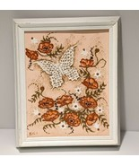 Butterfly Art Acrylic Paint Abstract by Retta Glod 1980 White Wood Frame... - $39.19